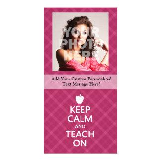 Keep Calm and Teach On, Pink Plaid Card