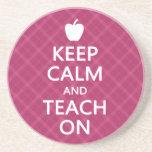 Keep Calm and Teach On, Pink Plaid Coasters