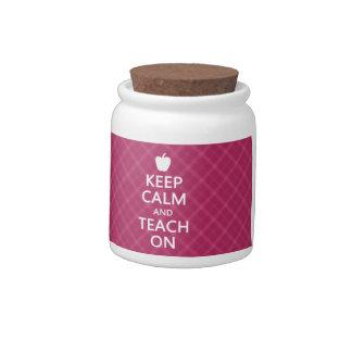 Keep Calm and Teach On, Pink Plaid Desk Jar Candy Dish
