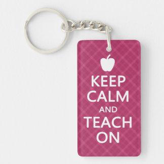 Keep Calm and Teach On, Pink Plaid Double-Sided Rectangular Acrylic Keychain