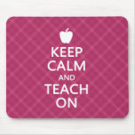 Keep Calm and Teach On, Pink Plaid Mouse Pad