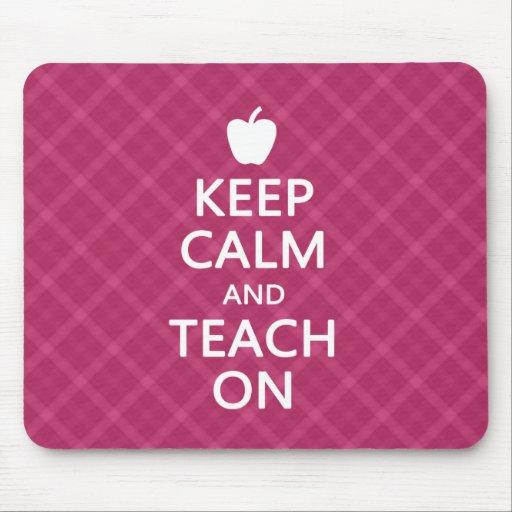 Keep Calm and Teach On, Pink Plaid Mouse Pad