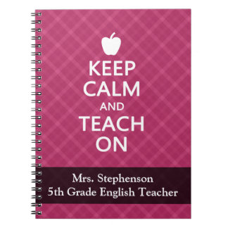 Keep Calm and Teach On, Pink Plaid Notebook