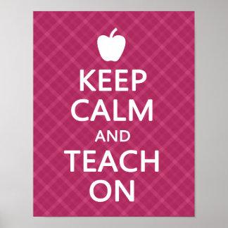 Keep Calm and Teach On Pink Plaid Print