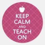 Keep Calm and Teach On, Pink Plaid Sticker