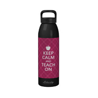 Keep Calm and Teach On Pink Plaid Reusable Water Bottle