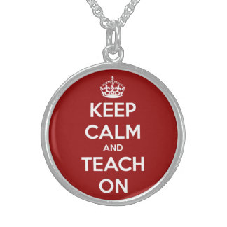 Keep Calm and Teach On Red and White Round Pendant Necklace