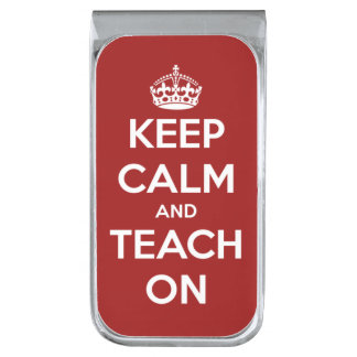 Keep Calm and Teach On Red and White Silver Finish Money Clip