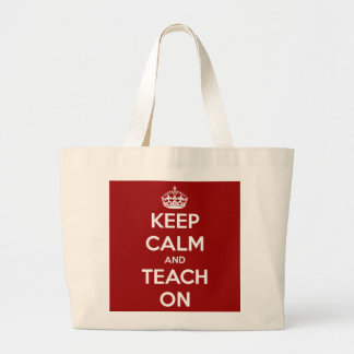 Keep Calm and Teach On Red Tote Bags