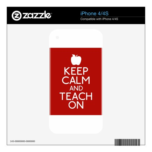 Keep Calm and TEACH on-red iPhone 4S Skins