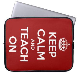 """Keep Calm and Teach On Red Laptop Sleeve 15"""""""