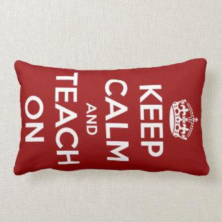 Keep Calm and Teach On Red Lumbar Pillow