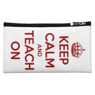 Keep Calm and Teach On Red on White Personalized Cosmetic Bag