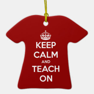Keep Calm and Teach On Red Ornaments