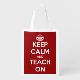 Keep Calm and Teach On Red Personalized Bag Reusable Grocery Bag