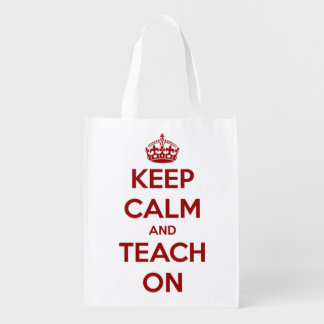 Keep Calm and Teach On Red Personalized Bag Grocery Bags