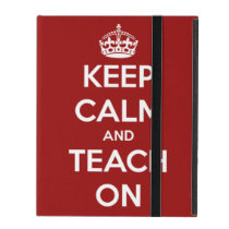 Keep Calm and Teach On Red Personalized iPad Folio Case