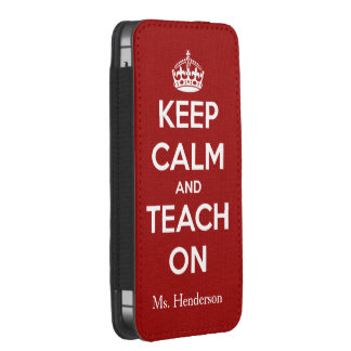 Keep Calm and Teach On Red Personalized iPhone SE/5/5s/5c Pouch
