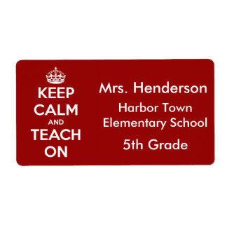 Keep Calm and Teach On Red Personalized Label