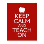 Keep Calm and TEACH on-red Post Card