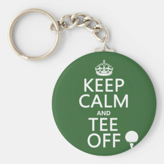 Keep Calm and Tee Off - Golf presents, all colors. Basic Round Button Keychain