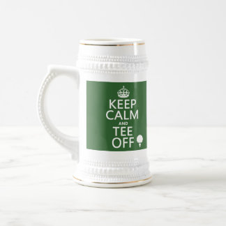 Keep Calm and Tee Off - Golf presents, all colors. Beer Stein