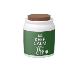 Keep Calm and Tee Off - Golf presents, all colors. Candy Jar