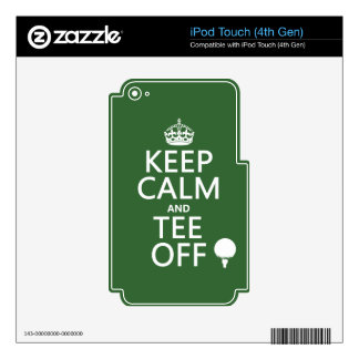 Keep Calm and Tee Off - Golf presents, all colors. iPod Touch 4G Decals