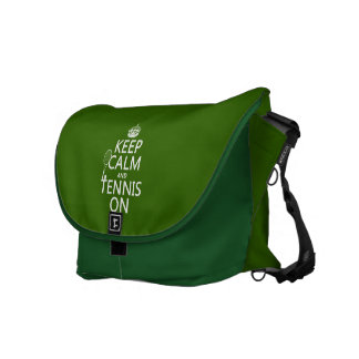 Keep Calm and Tennis On (any background color) Messenger Bag