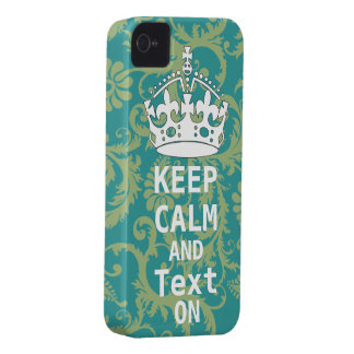 KEEP CALM AND Text ON change teal any color iPhone 4 Covers