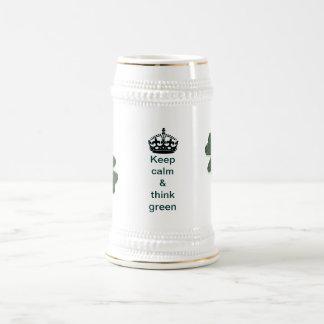 Keep calm and think green coffee mugs