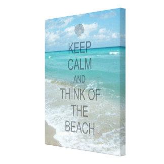 Keep Calm and Think of the Beach Ocean Canvas Print