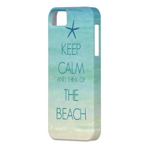 KEEP CALM AND THINK OF THE BEACH PHOTO DESIGN CASE FOR iPhone 5/5S