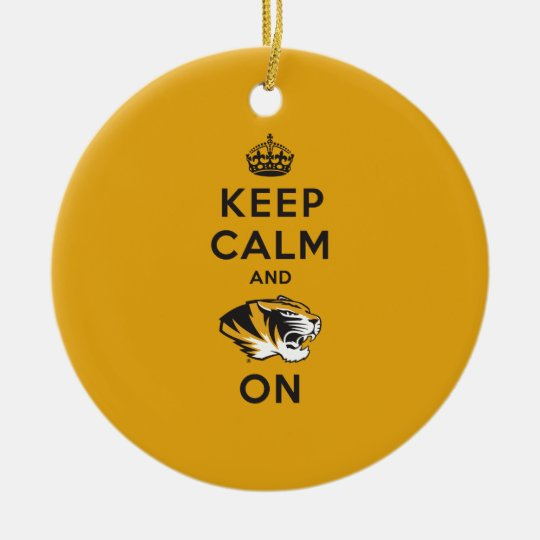 Keep Calm and Tiger on Ceramic Ornament