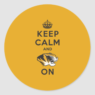Keep Calm and Tiger on Classic Round Sticker