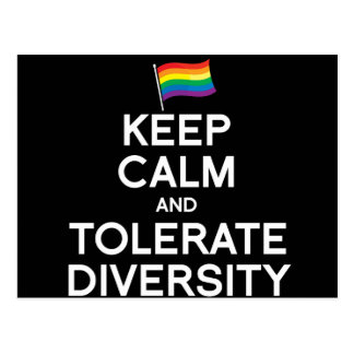 KEEP CALM AND TOLERATE DIVERSITY POST CARDS