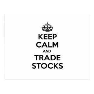 Keep Calm and Trade Stocks Postcard
