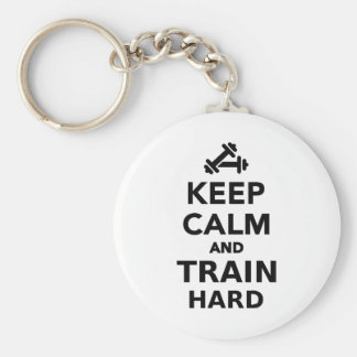 Keep calm and train hard keychain