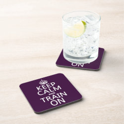 Beverage Coaster with Keep Calm and Train On design