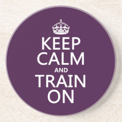 Sandstone Drink Coaster with Keep Calm and Train On design