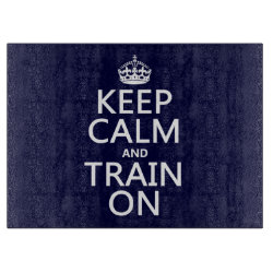 Decorative Glass Cutting Board 15'x11' with Keep Calm and Train On design
