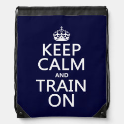 Drawstring Backpack with Keep Calm and Train On design