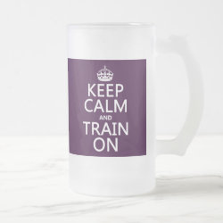Frosted Glass Mug with Keep Calm and Train On design