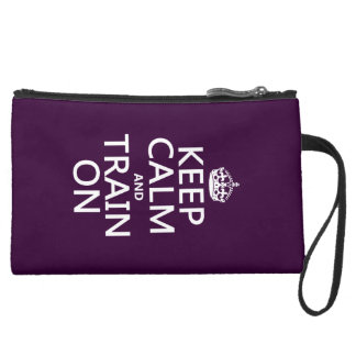 Keep Calm and Train On (customizable color) Suede Wristlet Wallet