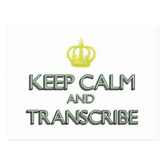 Keep Calm and Transcribe Postcard