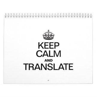 KEEP CALM AND TRANSLATE WALL CALENDARS