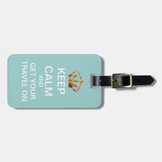 Keep Calm And Travel On Blue Pink Luggage Tag