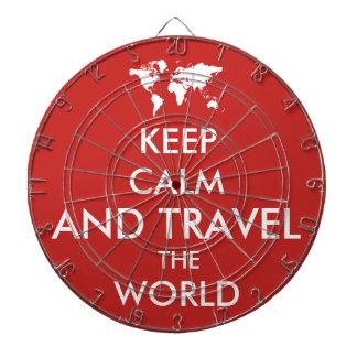 Keep calm and travel the world dart board