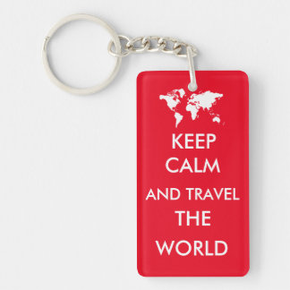 Keep calm and travel the world keychain