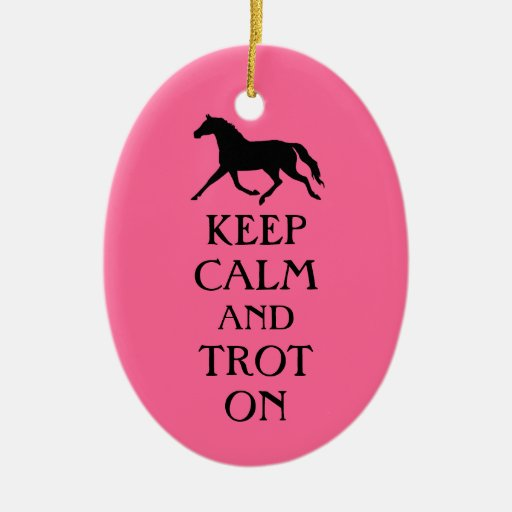 Keep Calm and Trot On Equestrian Double-Sided Oval Ceramic Christmas Ornament